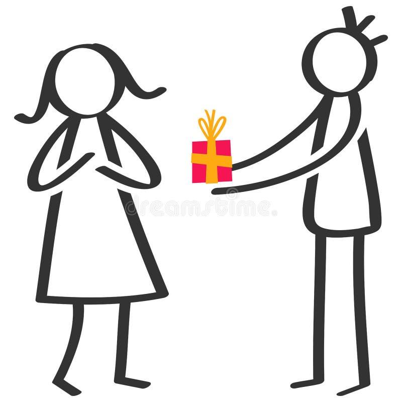 Chiffre noir et blanc simple homme de bâton donnant le cadeau d'anniversaire, boîte-cadeau à l'amie illustration de vecteur