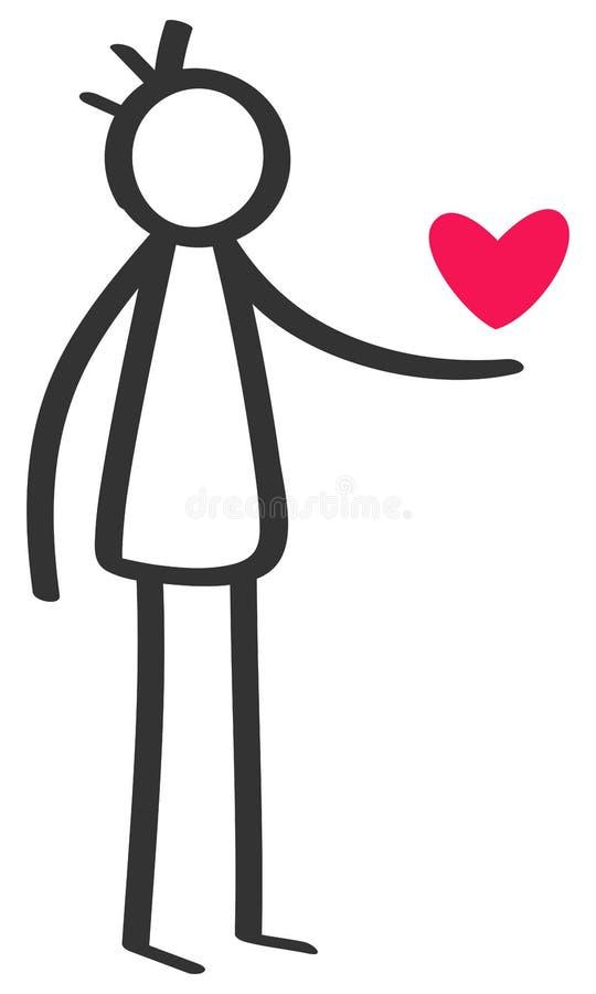 Chiffre noir et blanc simple homme de bâton donnant le coeur rouge, déclaration de l'amour, datation, jour du ` s de Valentine illustration de vecteur