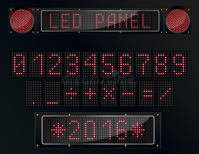Chiffre numérique de LED sur le fond noir illustration stock