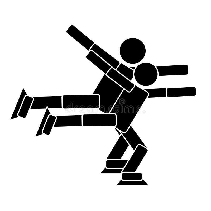 Chiffre patinage de paires Icône plate illustration stock