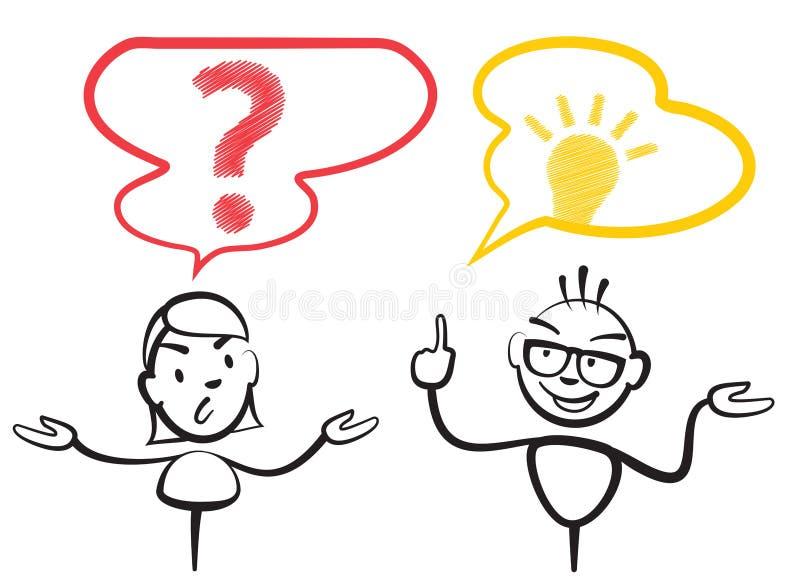 Chiffre point d'interrogation et idée de bâton illustration stock