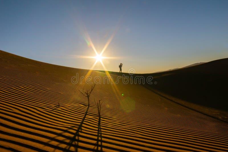 Chiffre solitaire de silhouette de photographe photographie stock