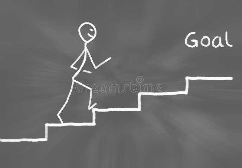 Chiffre tiré par la main de bâton se dirigeant en avant point par point à un escalier plat pour atteindre un but illustration libre de droits