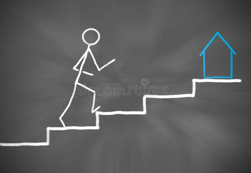 Chiffre tiré par la main titre de bâton pour une nouvelle maison à un escalier plat illustration de vecteur