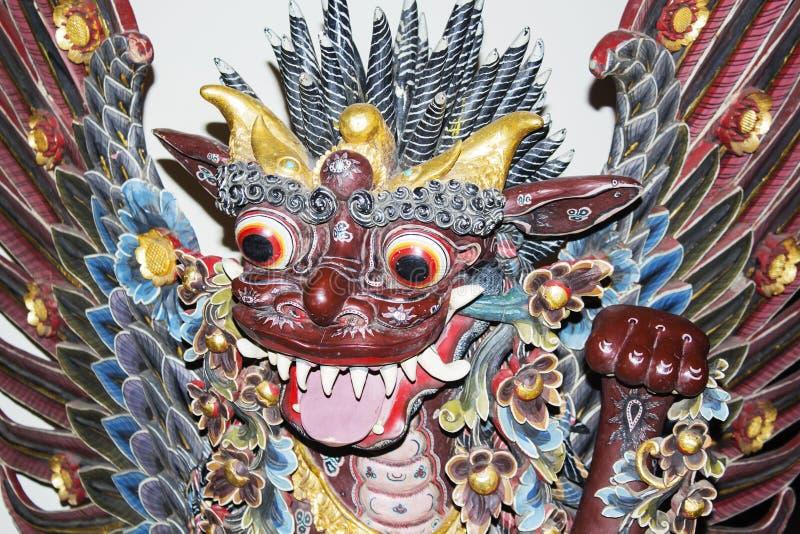 Chiffre traditionnel de Barong de Balinese sur la cérémonie de rue en île Bali, Indonésie Fin vers le haut photographie stock libre de droits