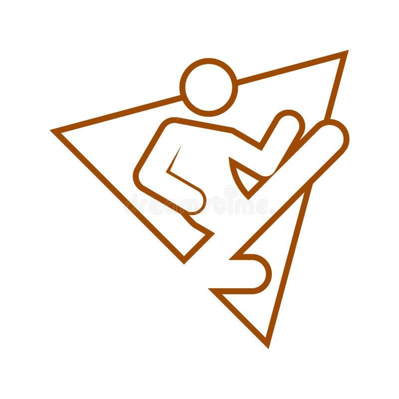 Chiffre vecteur de sport d'ensemble de karaté de coup-de-pied de vol de forme de triangle de symbole illustration libre de droits