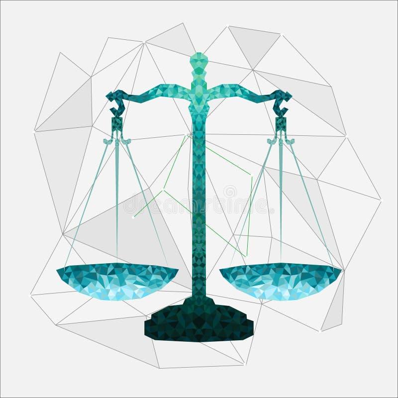 Chiffre vert de Balance dans le style polygonal avec les lignes grises illustration libre de droits