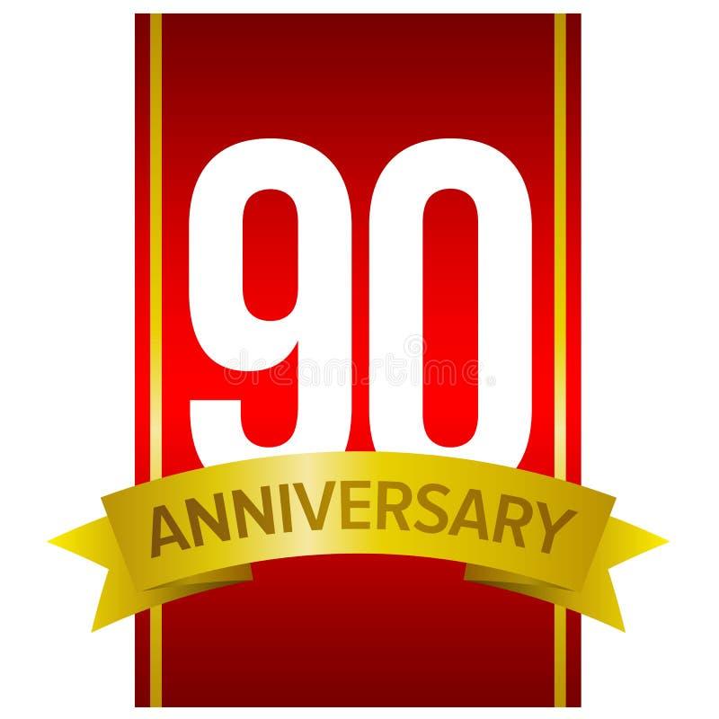 Chiffres blancs 90 sur le fond rouge Quatre-vingt-dix ans de signe illustration libre de droits