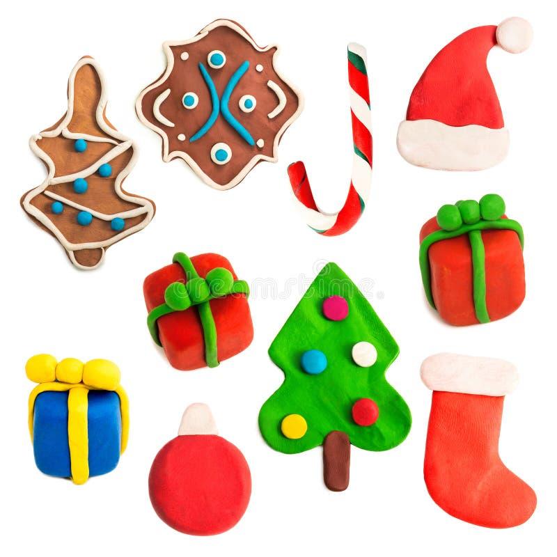 Chiffres colorés de Noël faits de pâte à modeler photo stock