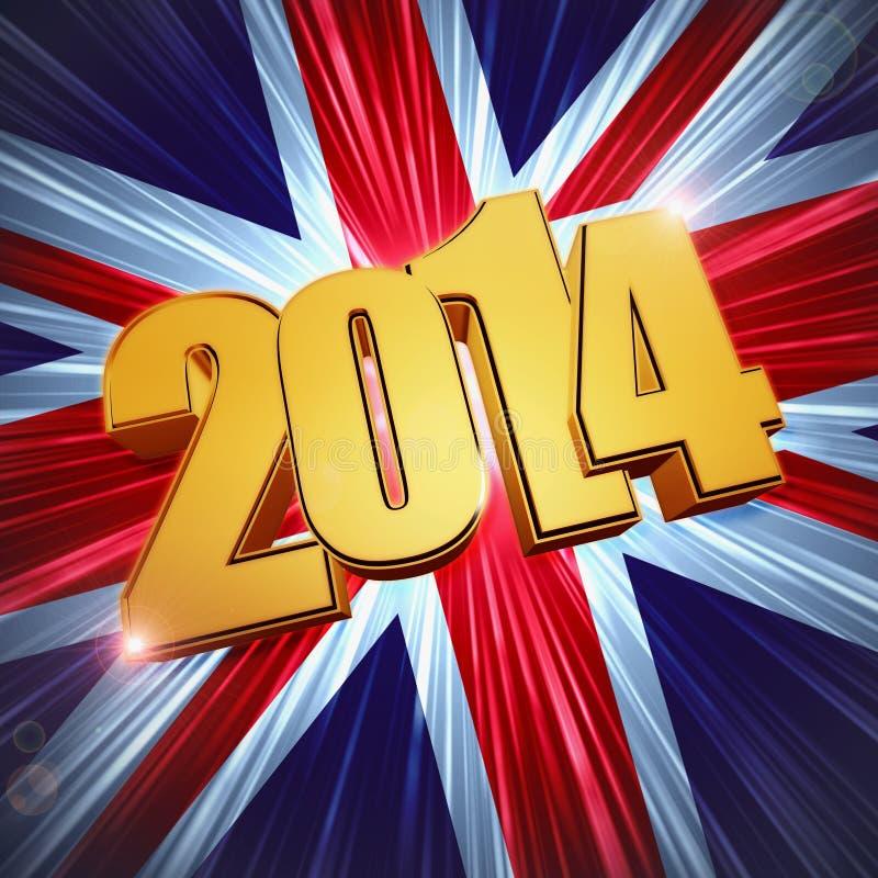 Chiffres d'or de la nouvelle année 2014 au-dessus de briller le drapeau BRITANNIQUE illustration stock