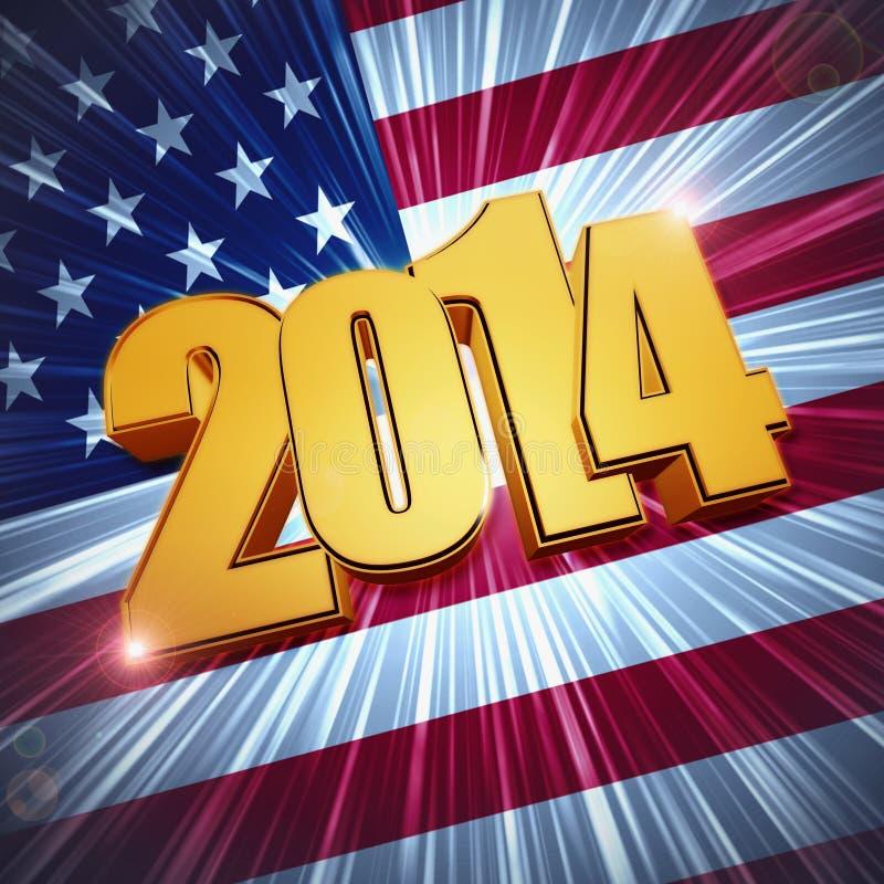 Chiffres d'or de la nouvelle année 2014 au-dessus de drapeau américain brillant illustration libre de droits