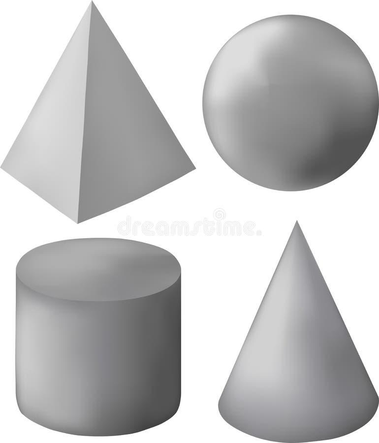 Chiffres 3d géométriques gris illustration de vecteur
