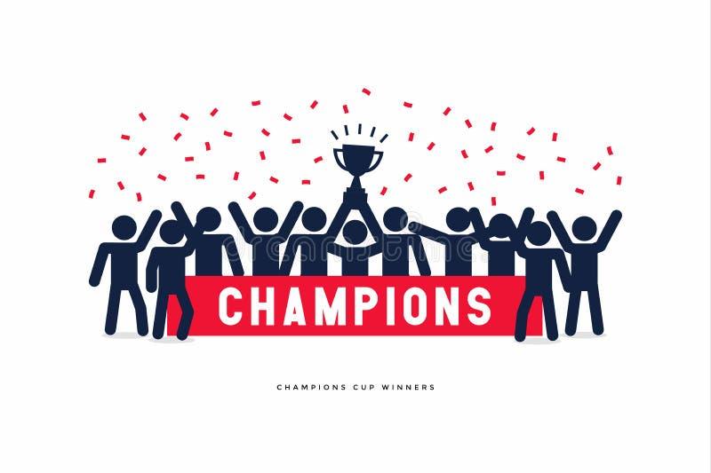 Chiffres de bâton des champions du football ou du football de tasse de gagnant illustration de vecteur
