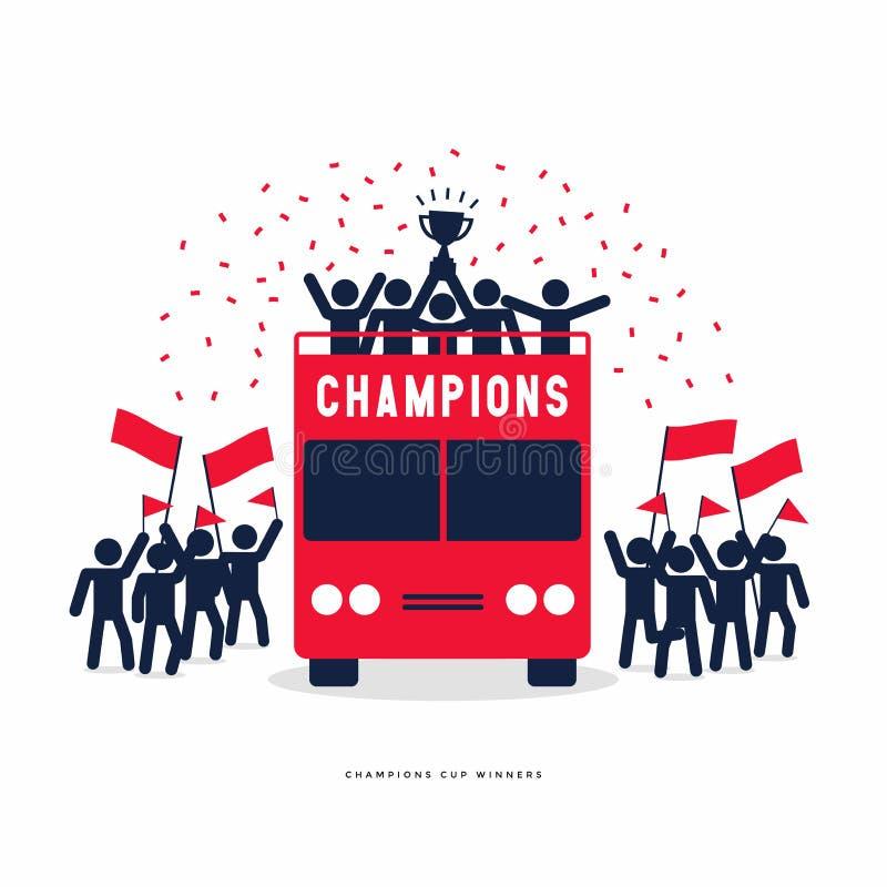 Chiffres de bâton de la célébration de champions du football ou du football de tasse de gagnant sur les autobus à couvercle serti illustration de vecteur