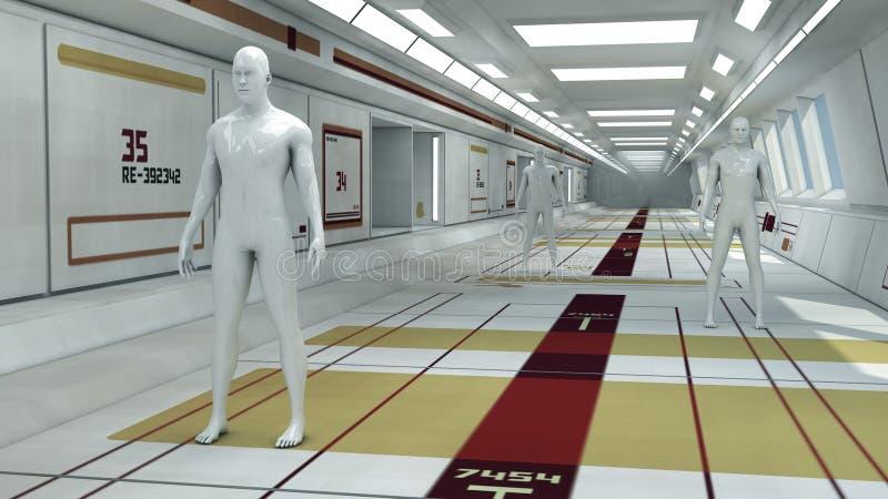 Chiffres de humanoïde et pièce futuriste illustration de vecteur