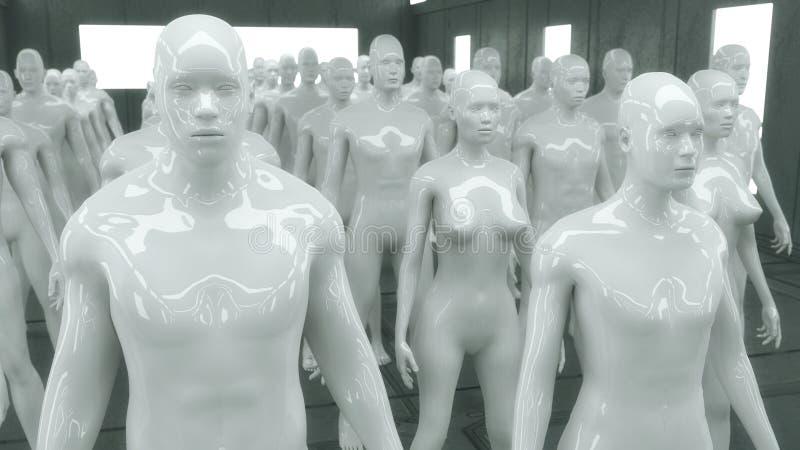 Chiffres de humanoïde et pièce futuriste illustration stock