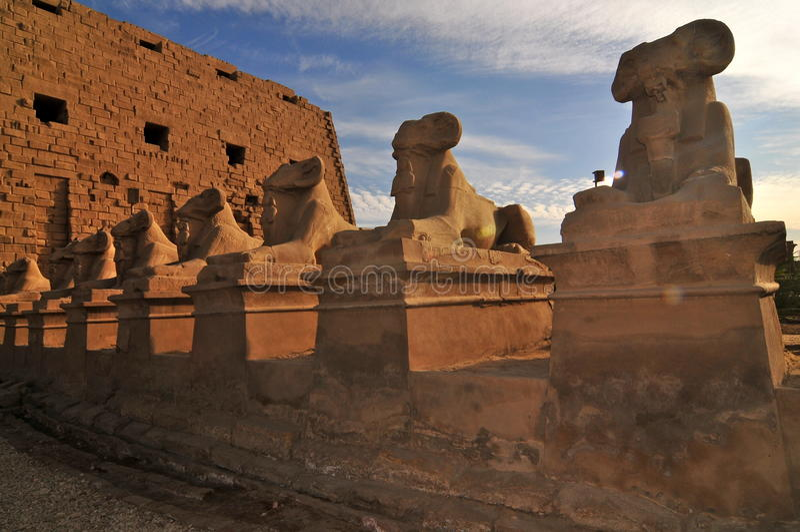 Chiffres de l'Egypte pendant le coucher du soleil Constructions historiques photos libres de droits