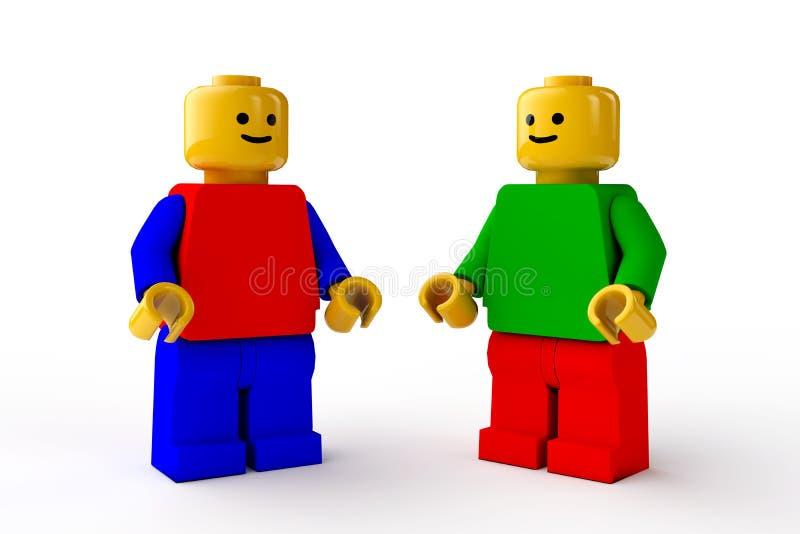 Chiffres de LEGO, deux caractères masculins de jouets illustration libre de droits