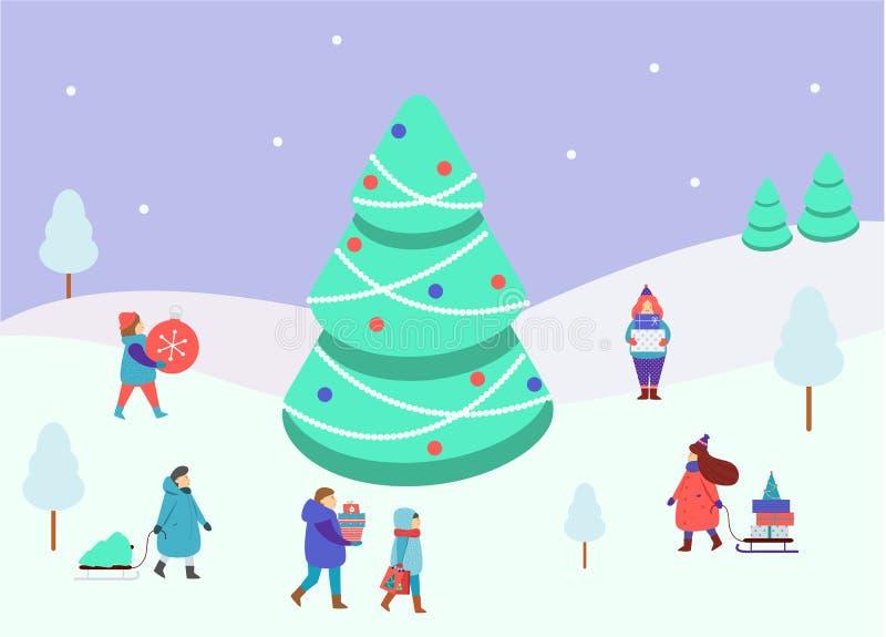 Chiffres de personnes d'hiver petits autour de grand arbre impeccable Les hommes et les femmes portent des cadeaux de Noël et de  illustration de vecteur
