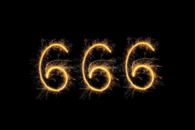 Chiffres de scintillement 666 photo libre de droits
