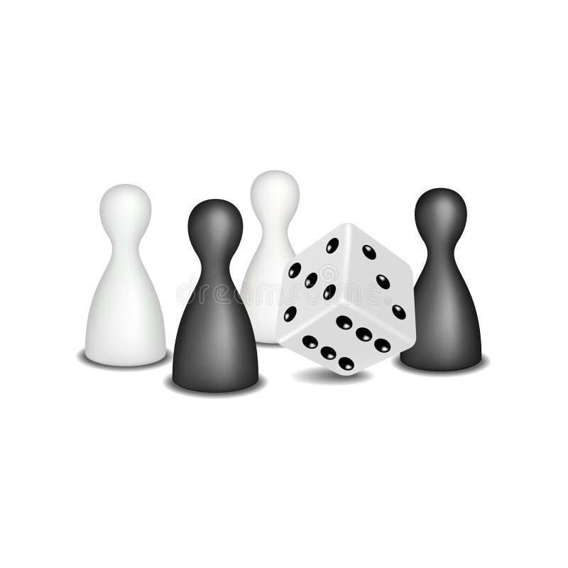 Chiffres et matrices de jeu de société dans la conception noire et blanche illustration de vecteur
