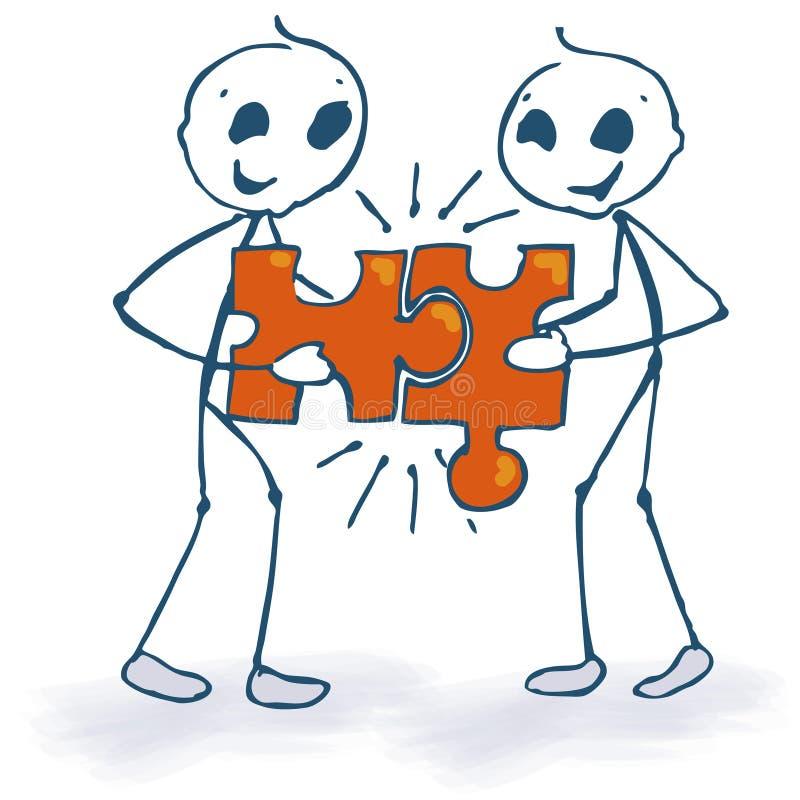 Chiffres et puzzle de bâton illustration libre de droits