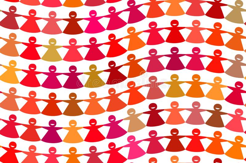 Chiffres femelles incurvés par papier coupés multicolores lumineux de chaîne illustration de vecteur