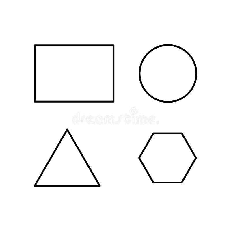 Chiffres géométriques de vecteur Décrivez la triangle équilaterale circulaire de rectangle de style et les chiffres réguliers d'h illustration libre de droits