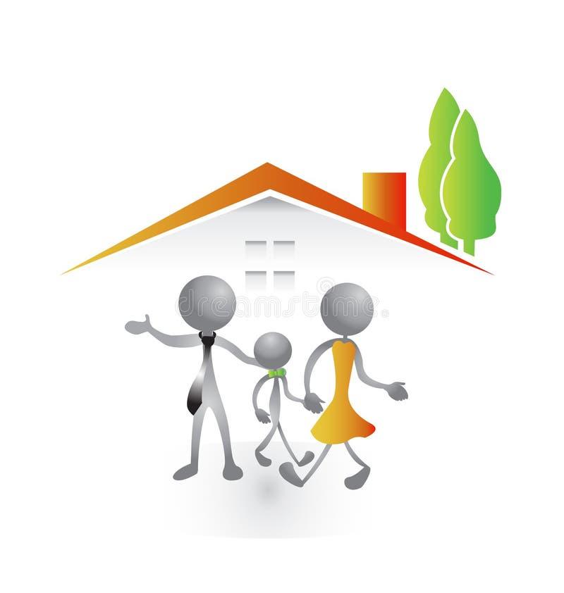 Famille et nouvelle maison illustration de vecteur
