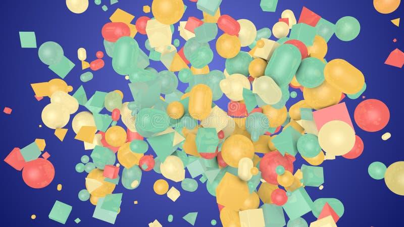 Chiffres occasionnels de forme en Violet Backdrop illustration stock