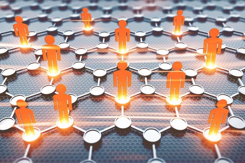 Chiffres oranges de personnes, concept de connexion images libres de droits