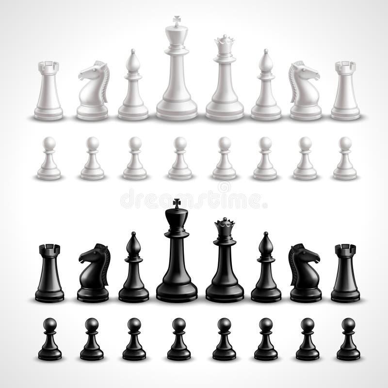 Chiffres réalistes d'échecs illustration stock