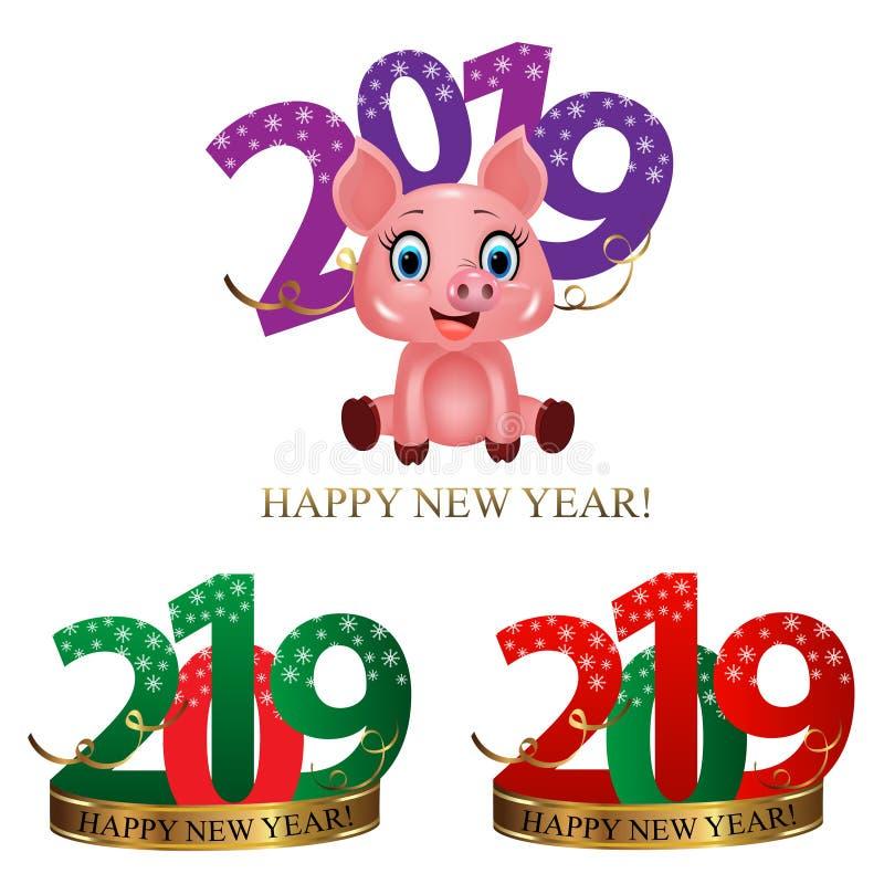 Chiffres réglés 2019 de nouvelle année avec les flocons de neige, le ruban d'or et le porc mignon, symbole de zodiaque dans le ca illustration de vecteur