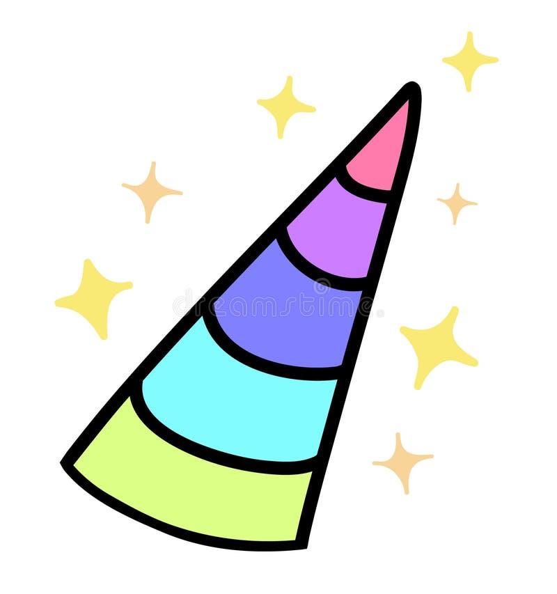 Chifre colorido do arco-íris do ` s do unicórnio com sparkles ilustração royalty free