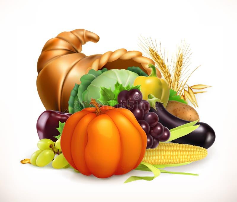 Chifre da abundância Frutas e legumes da colheita Cornucópia Engrena o ícone ilustração stock