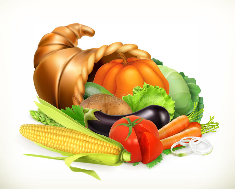 Chifre da abundância Vegetais da colheita Cornucópia Engrena o ícone ilustração royalty free