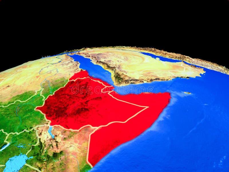 Chifre de África do espaço na terra ilustração do vetor