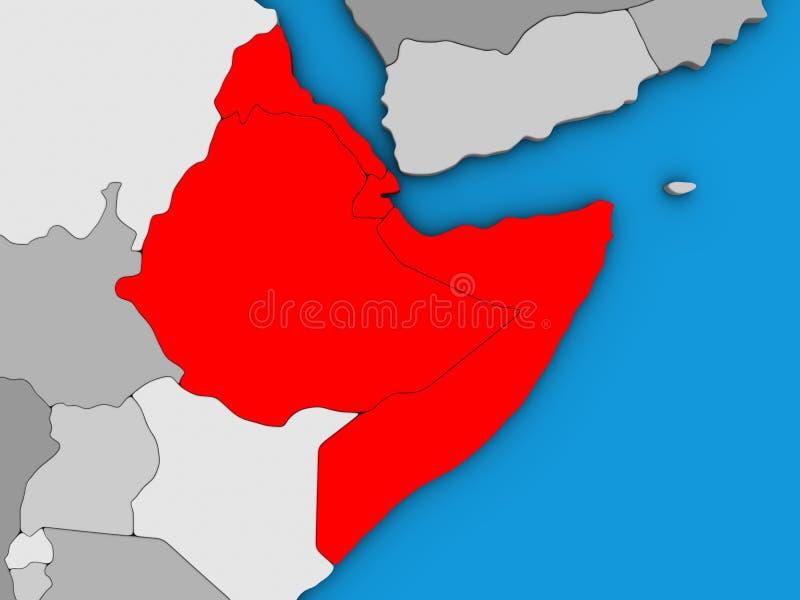 Chifre de África no mapa 3D ilustração do vetor