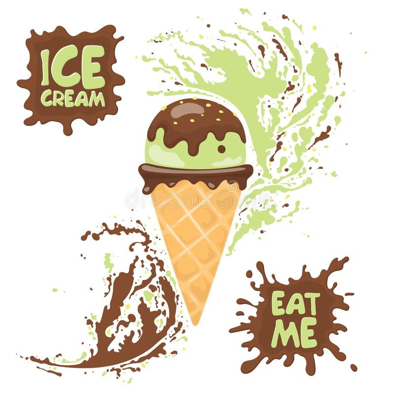 Chifre do gelado do pistache com porcas e chocolate Texto: Coma me e o gelado ilustração stock