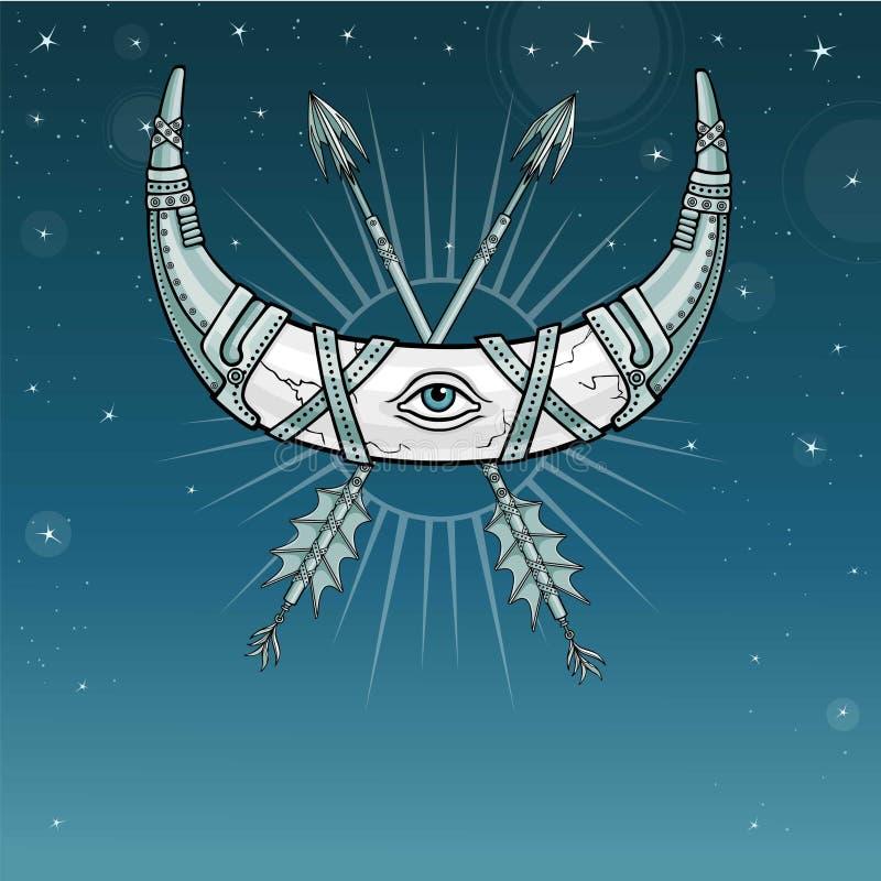 Chifre mágico um crescente, lua na armadura do metal ilustração royalty free