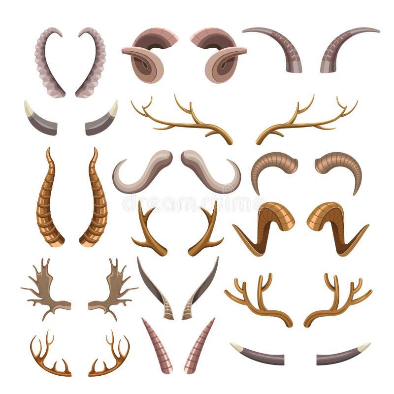 Chifres coms muitos ramos e afiados dos animais selvagens ajustados ilustração do vetor