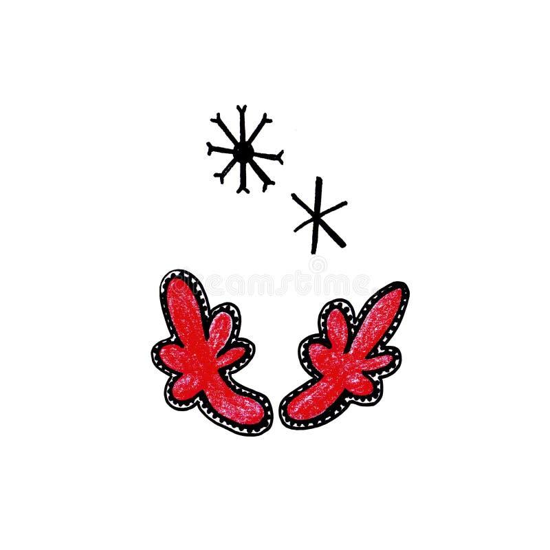 Chifres e flocos de neve tirados mão dos veados vermelhos no fundo branco ilustração do vetor