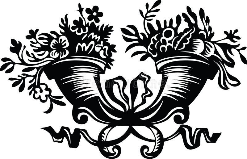 Chifres Enchidos Com As Flores Imagem de Stock Royalty Free