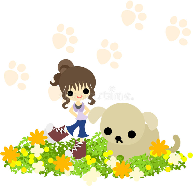 Download A chignon girl  with a dog stock vector. Illustration of artwork - 33278038