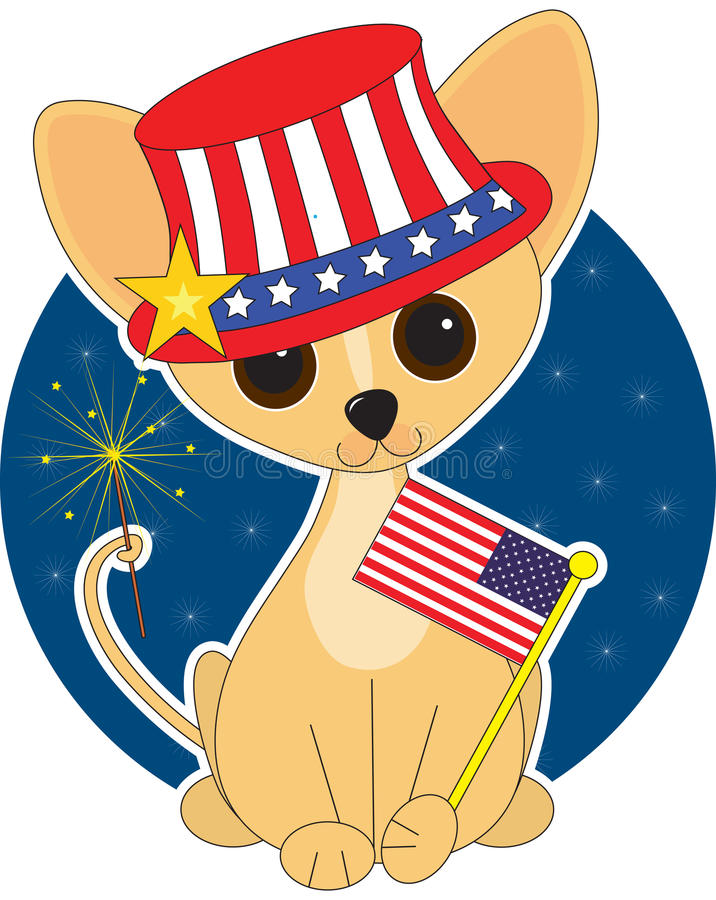 Chihuahua America. Chihuahua dressed for the Fourth of July stock illustration