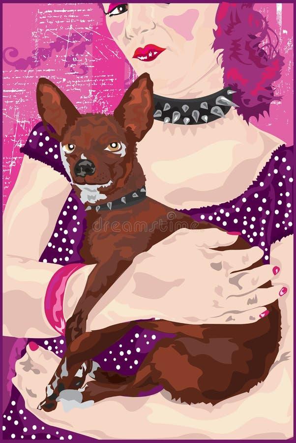 Chihuahua & de Dame stock illustratie