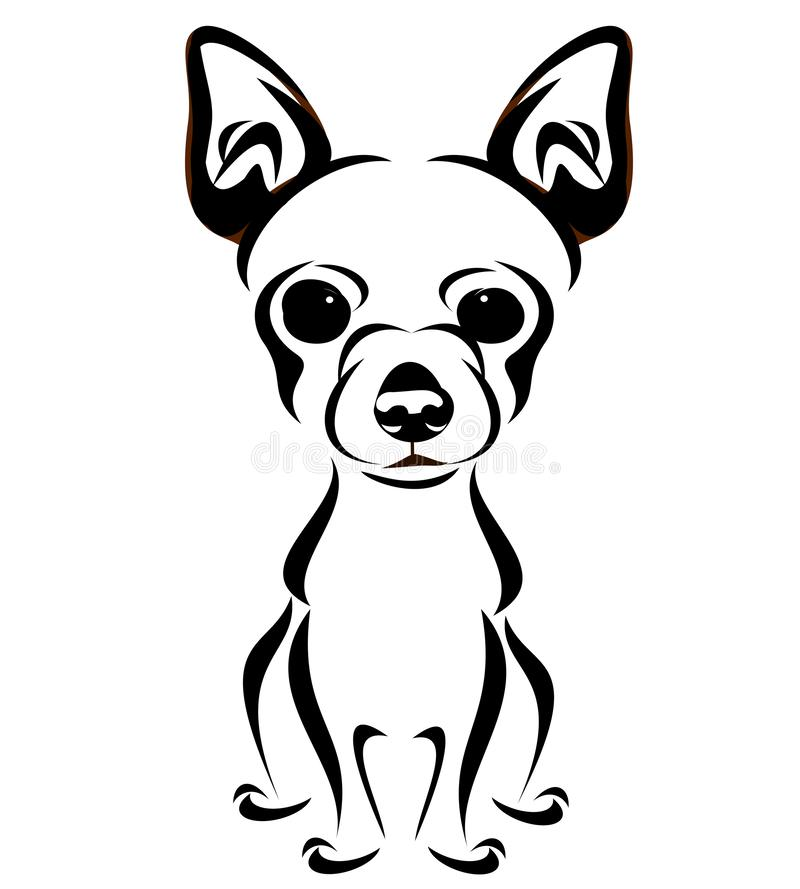 Chihuahua Breed Stylized Line Art stock illustration