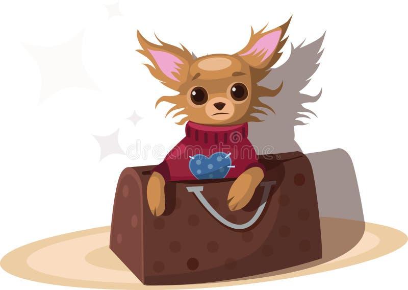Chihuahua in de zak stock illustratie