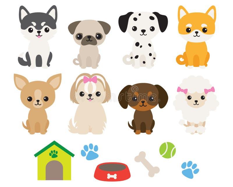 Chihuahua-, des sibirischen Huskys, des Pug, des Pudels, des Dachshunds, des Dalmatiners, Shiba, maltesischen und Vektor-Illustra stock abbildung