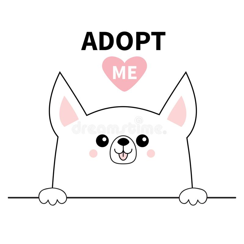 Chihuahua dog head face. Hands paw holding line. Adopt me. Help homeless animal Pet adoption. Pink heart. Cute cartoon puppy chara. Cter. Funny baby pooch. Flat vector illustration